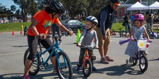 Young cyclists set off from Crissy Field