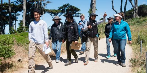Parks Conservancy staff lead a wildflower walk at Lands End