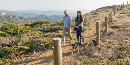 Visitors stroll Milagra Ridge