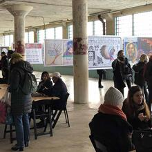 Participants at the Future IDs at Alcatraz 'Day of Public Programs' on Feb. 16, 2019, at the New Industries Building on Alcatraz Island.
