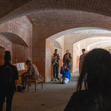 Pianist performing at Fort Point