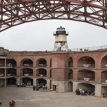 Image of the interior of Fort Point with the lighthouse