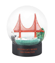Snow globe with a mini Golden Gate Bridge inside of it