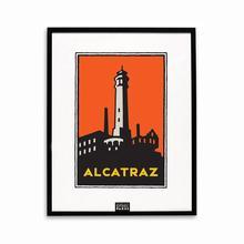 Framed Schwab graphic of Alcatraz