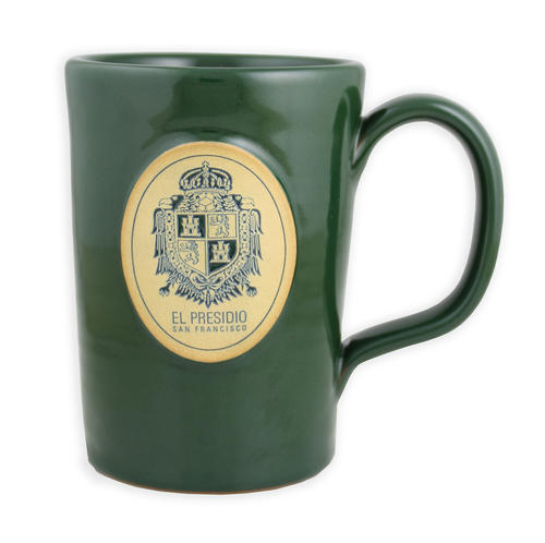 Dark green mug with the Presidio US Army coat of arms