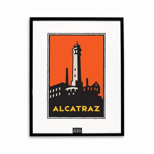 Framed Schwab graphic of Alcatraz