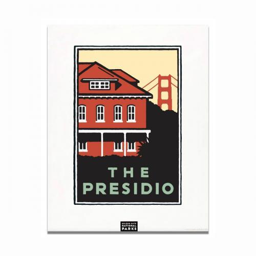 Michael Schwab graphic of the Presidio's Main Post with the Golden Gate Bridge