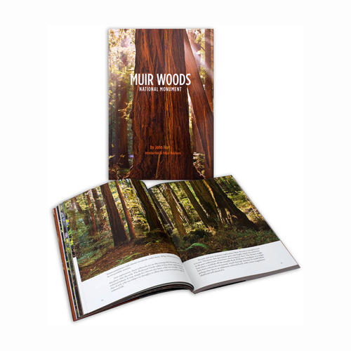 Two Muir Woods National Monument books showing the cover and one of the spreads