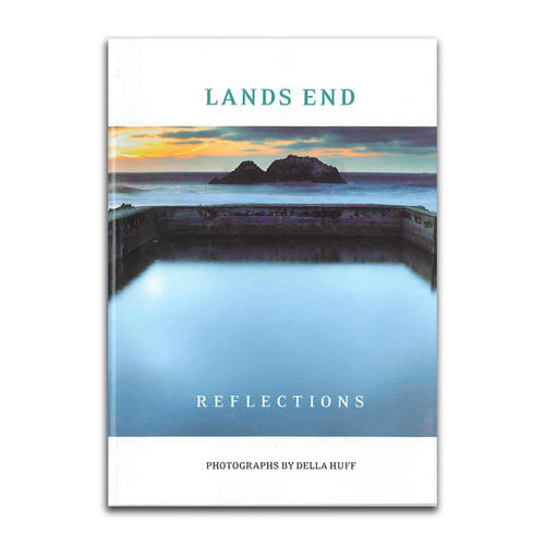 "Cover of ""Lands End Reflections"" book, featuring a Sutro Baths sunset photo."