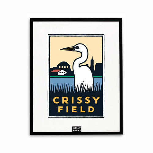 Michael Schwab graphic of an egret at Crissy Field