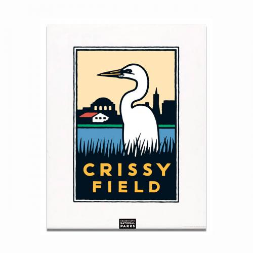 Schwab graphic of an egret at Crissy Field