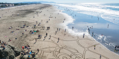 Aerial view of beach goers gathering around sand art at Ocean Beach.
