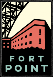 Schwab graphic of Fort Point below the Golden Gate Bridge