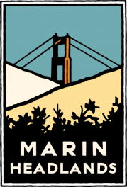 Schwab graphic of the Golden Gate Bridge peeking out from behind grassy hills